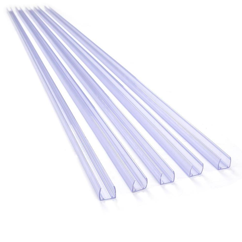DELight Set of 5pcs 39.4'' Neon Rope Lights Wall Hanger Mounting Channel 1/2'' Clear PVC for Straight Lines in Lighting Project