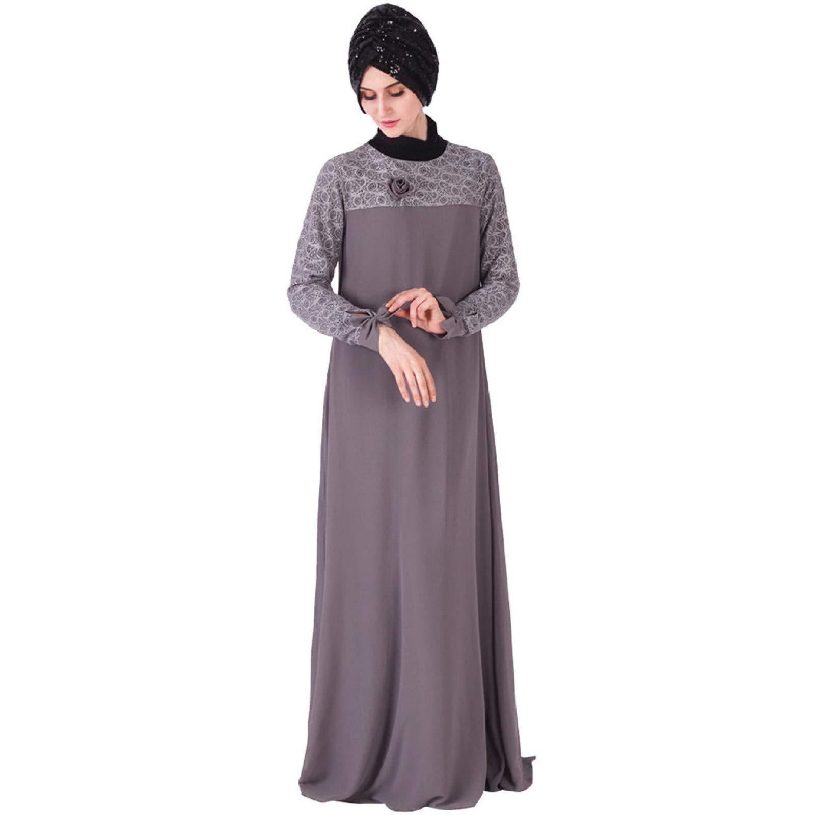Muslim Women Kaftan Islamic Apparel Robes,Long Sleeve Printed Long Dress