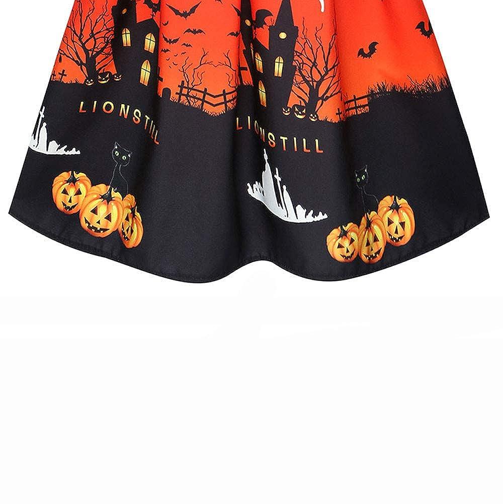 Pervobs Women Pumpkin castle Print 3//4 Sleeve Party Swing Dress Halloween Costumes