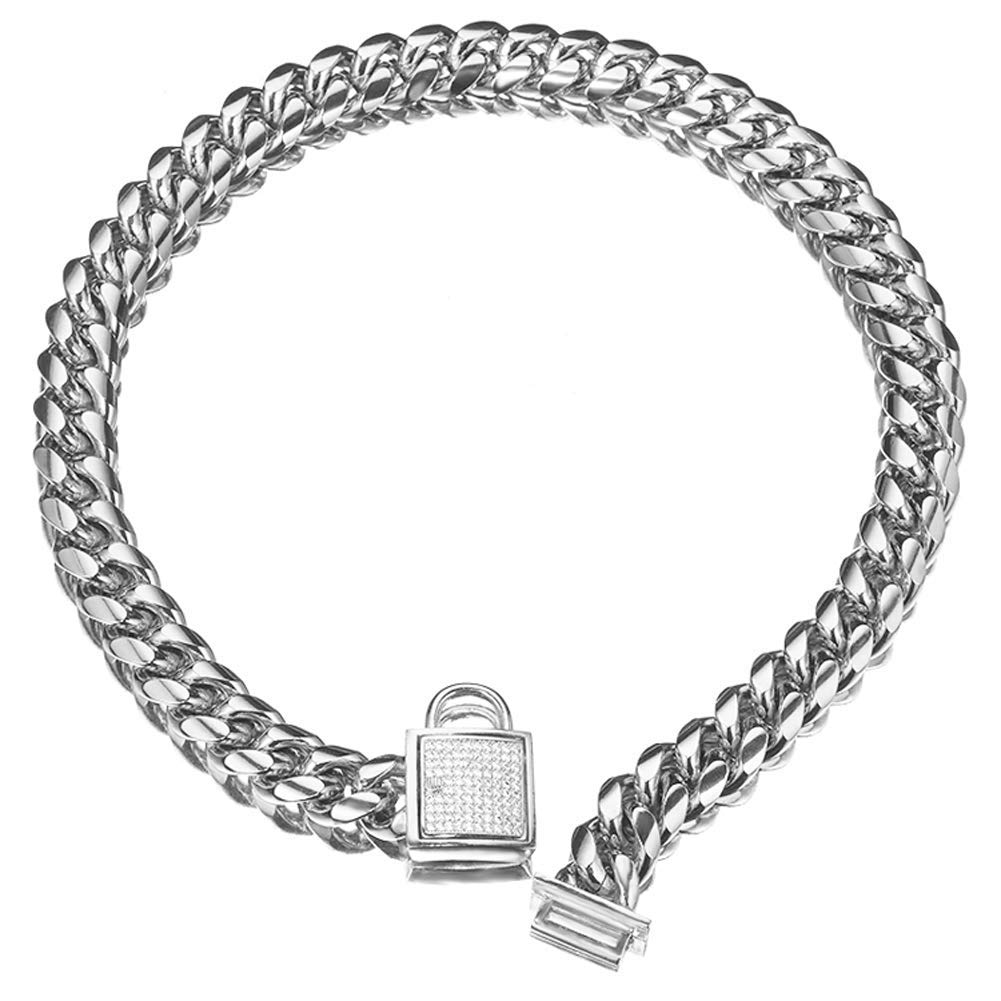 Abaxaca Top Dog Collar White Silver Tone Stainless Steel 14mm Big Dog Luxury Training Collar Cuban Link with Zirconia Lock Necklace Chain Choker for Dog (20 inch(for 17.1''~19'' Neck)) by Abaxaca