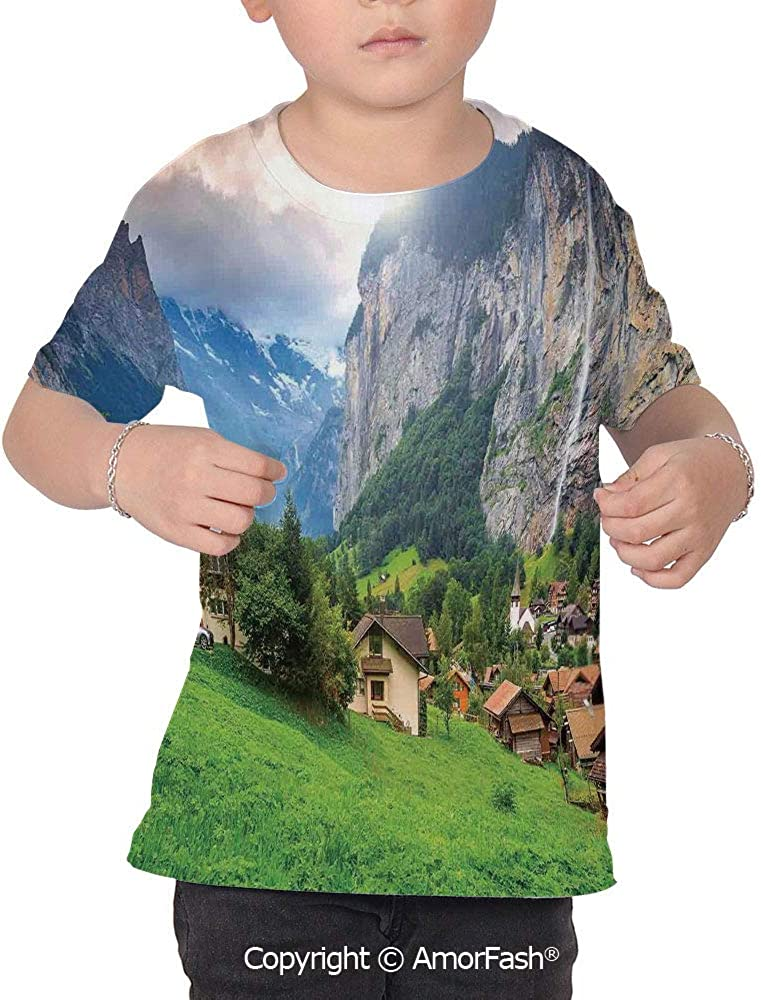 PUTIEN Farm House Decor Colorful Boys and Girls Soft Short Sleeve T-Shirt,Town by The R