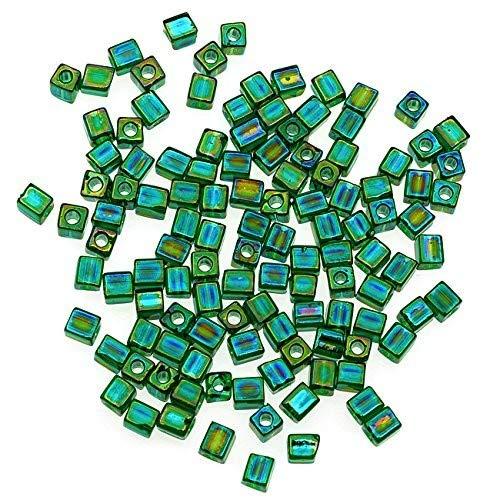- Miyuki 4mm No.179 Glass Cube Beads, 10gm, Transparent Emerald Green AB