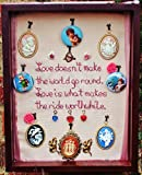 ''Love Doesn't Make the World Go Round, Love is What Makes the Ride Worthwhile'' Hand Embroidered Neo-Victorian Sentiment with 12 Removable Cherub Pendants, Cameo, and Hearts. ONE OF A KIND!