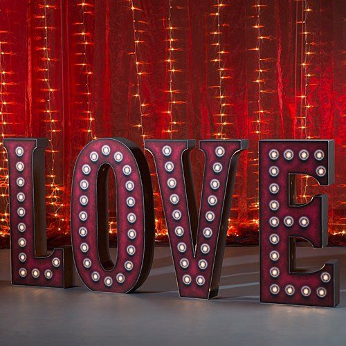 4 ft. 4 in. 3D Valentine Lighted Love Letter Set Standup Photo Booth Prop Background Backdrop Party Decoration Decor Scene Setter Cardboard Cutout