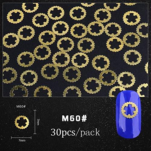 Nail Art Supplies - 30pcs Gold Nail Punk Style Decoration 3D Metal Steampunk Ultra Thin Wheel Gear Decorations Manicure Nail Tips Tools 3D Nail Art Nail Art Tools Nail Design Kit - Shape 60 (Beaded Daisy Pen)