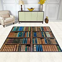 DEYYA Contemporary Area Rug Rugs Bookcase Bookshelf School Library Non-Slip Floor Mat Doormats for Living Room Bedroom 80 x 58 inches