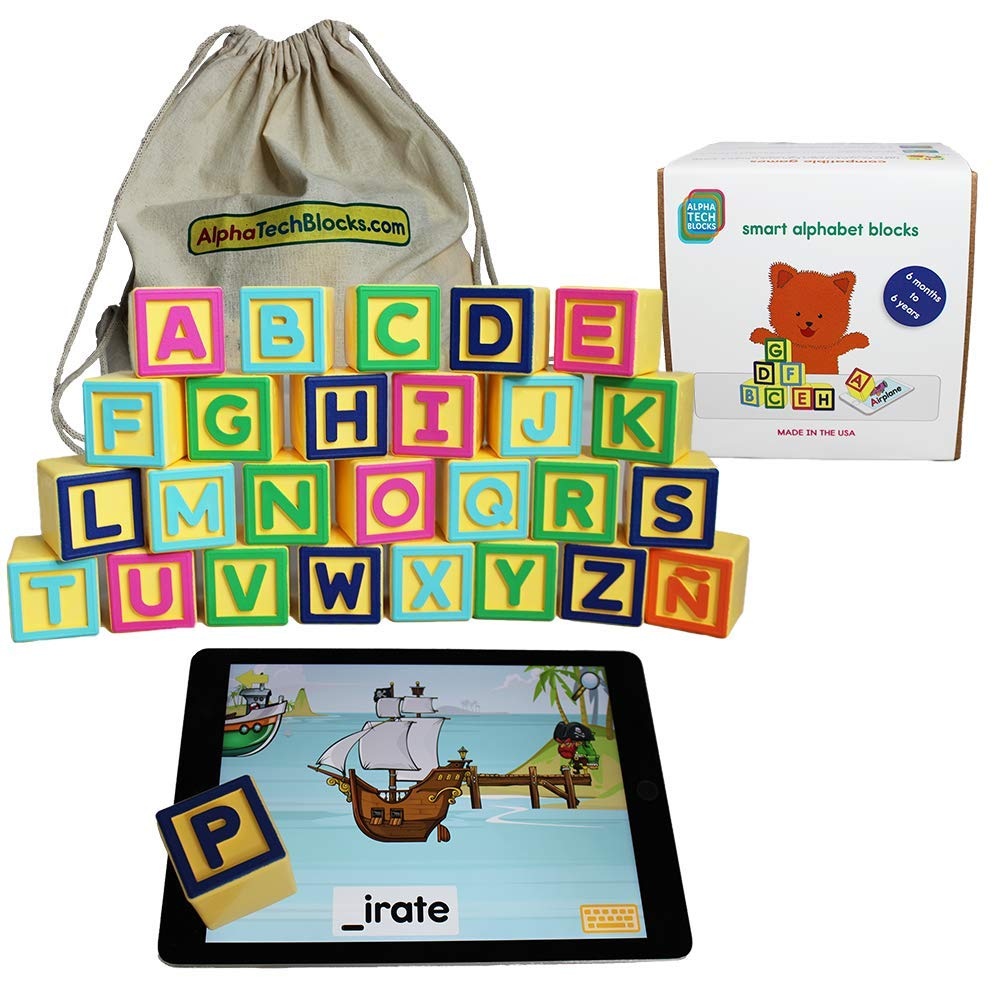 Montessori Toys for ABC Learning | Smart Alphabet Blocks for Interactive Educational iPad Games for Preschool & Kindergarten | Learn English & Spanish | Toddlers & Kids 1-6 | Includes 5 Free Apps by AlphaTechBlocks (Image #1)