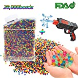 Water Beads Rainbow Mix Water Gel Beads Crystal Bullet with Water Gun Pistol Toy for Kid Shooting Outdoor (20000 Beads)