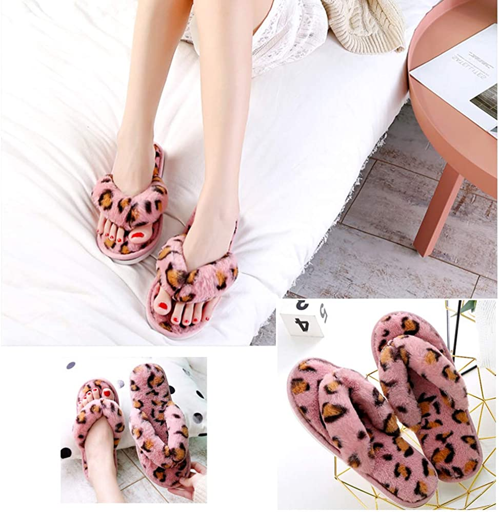 Womens Leopard Fuzzy Flip Flop Slippers Soft Plush Open Toe Slip On Spa Thong Sandals Ladies House Fluffy Furry Sandal Slides for Indoor Outdoor Pink Leopard