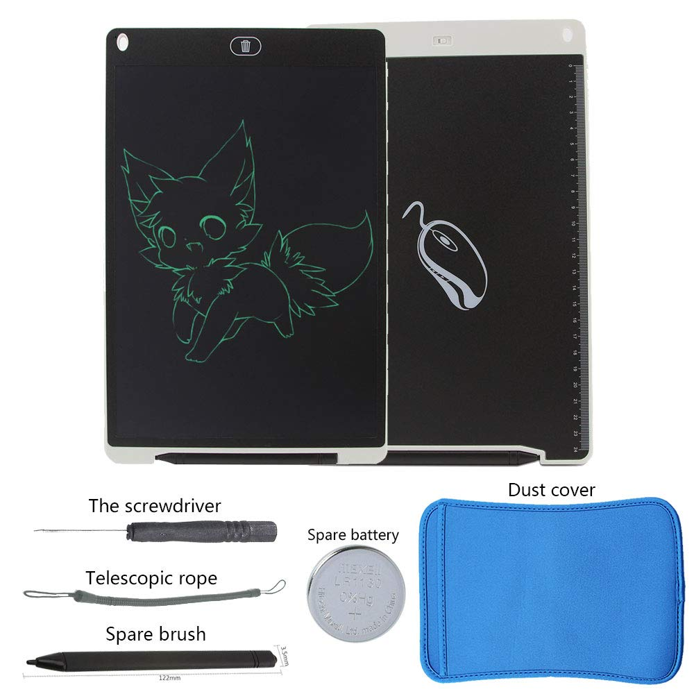 KINGWEI New 12 Inch LCD Writing Tablet +Neoprene Sleeve Case (White) by KINGWEI (Image #1)