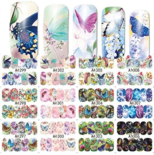 12 Pack Mixed Butterfly Nail Art Sticker Water Transfer Nails Wrap Paint Tattoos Stamping Plates Templates Tools Tips Kits Delightful Popular Xmas Christmas Snow Holiday Stick Tool Vinyls Decals Kit