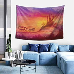 Fantasy Wall Hanging Fantasy Gothic Medieval Castle and Carriage with Horse Imaginary Kingdom Print Wall Tapestry Dorm Room Decor W59 x L59 inch Purple Orange