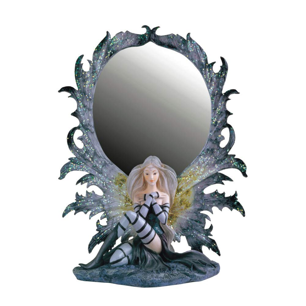 Paykoc Imports Fairy with Mirror, Grey 10'' H GS91380