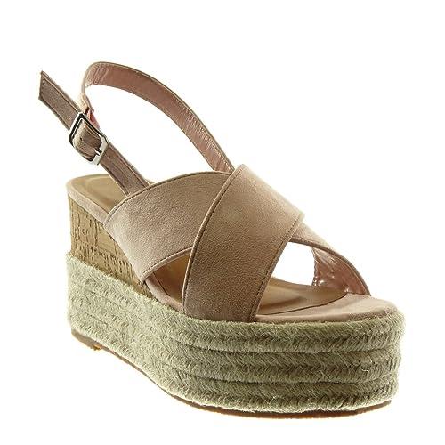 d07bd7583f1cdd Angkorly - Chaussure Mode Sandale Mule lanière Cheville Plateforme Femme  Corde tréssé lanière Talon compensé Plateforme