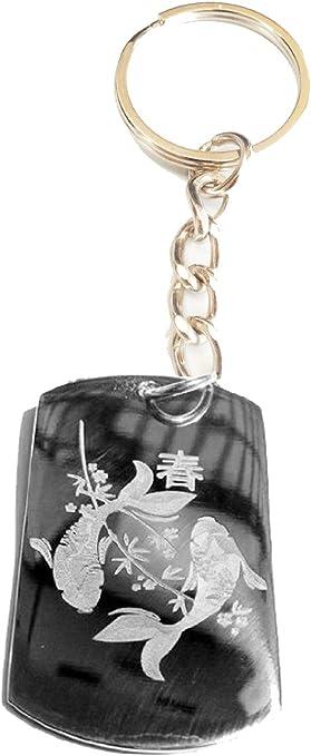 Metal Ring Key Chain Keychain Novelty Japanese KOI Fish YIN Yang Peace Logo Symbol