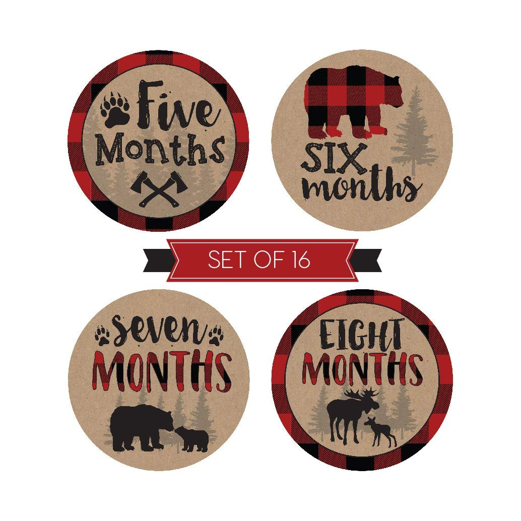 16 Woodland Bear Baby Milestone Stickers, Rustic Winter 12 Monthly Photo Picture Props For Boy or Girl Infant Onesie, 1st Year Months Belly Decal, Scrapbook Memory Registry Gift Lumberjack Shower Idea
