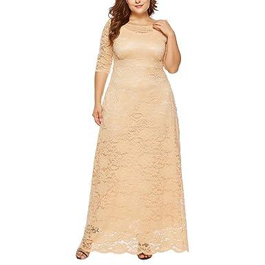 d29ed3829e991b Longra Damen Elegant Spitzenkleider Abendkleid Brautjungfer Cocktailkleid Langes  Kleid Blumen Große Größen Kleid Langarm Spitzen Maxikleider