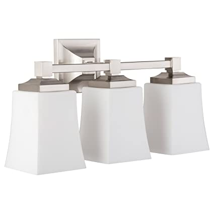 Brighton 3 Light Bathroom Vanity Brushed Nickel w/ Frosted Glass ...