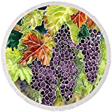 Pixels Round Beach Towel With Tassels featuring ''Autumn Vineyard In Its Glory - Batik Style'' by Audrey Jeanne Roberts