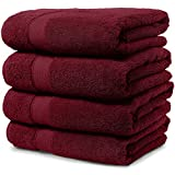 4 Piece Bath Towel Set. 2017(New Collection).Premium Quality Turkish Towels. Super Soft, Plush and Highly Absorbent. Set Includes 4 Pieces of Bath Towels. By Maura. (Bath Towel - Set of 4, Burgundy)