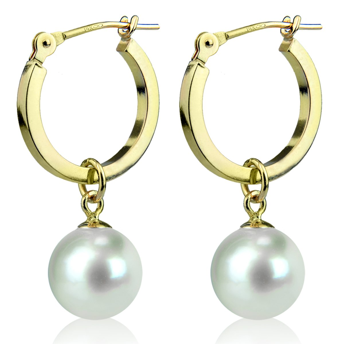 14K Yellow Gold Round White Freshwater Cultured Pearl Hoop Dangle Earrings 7mm by La Regis Jewelry (Image #2)
