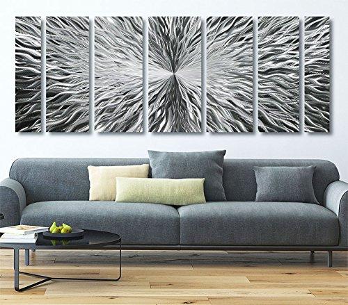 Abstract Art Wall Hanging (Extra Large Modern Metal Wall Art - Abstract Metallic Hanging - Huge Contemporary Accent - Vortex XL by Jon Allen - 96