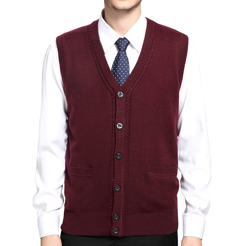 FULIER Mens Winter Warm Wool V-Neck Gilet Sleeveless Vest Waistcoat Gentleman Comfort Soft Knitwear Cardigans Knitted Sweater Tank Tops With Buttons Design