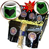 Janna Salak Designs Prints and Patterns - Punk Rockabilly Green Tiger Animal Print Black Heart - Coffee Gift Baskets - Coffee Gift Basket (cgb_20415_1)