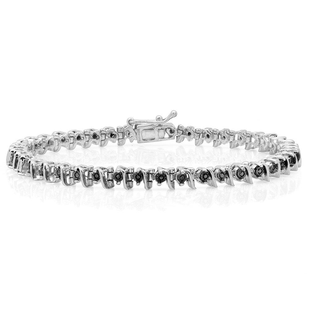 0.40 Carat (ctw) Sterling Silver Round Cut Black Diamond Ladies Tennis Bracelet
