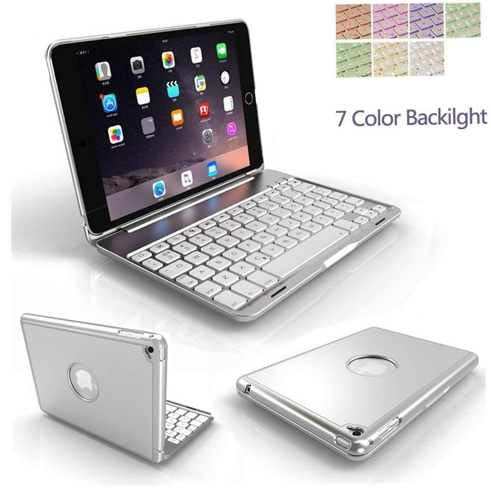 iPad Air 3 10.5 inch Case with Keyboard, TechCode 7 Colour Folio Back Light Colorful Bluetooth Keyboard Case with Auto Sleep/Wake Function Case for iPad Air 3rd Gen 10.5 inch-Silver