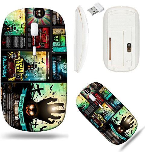 Liili Wireless Mouse White Base Travel 2.4G Wireless Mice with USB Receiver, Click with 1000 DPI for notebook, pc, laptop, computer, mac book IMAGE ID 32322977 Halloween Party Flyer with creepy colorf]()