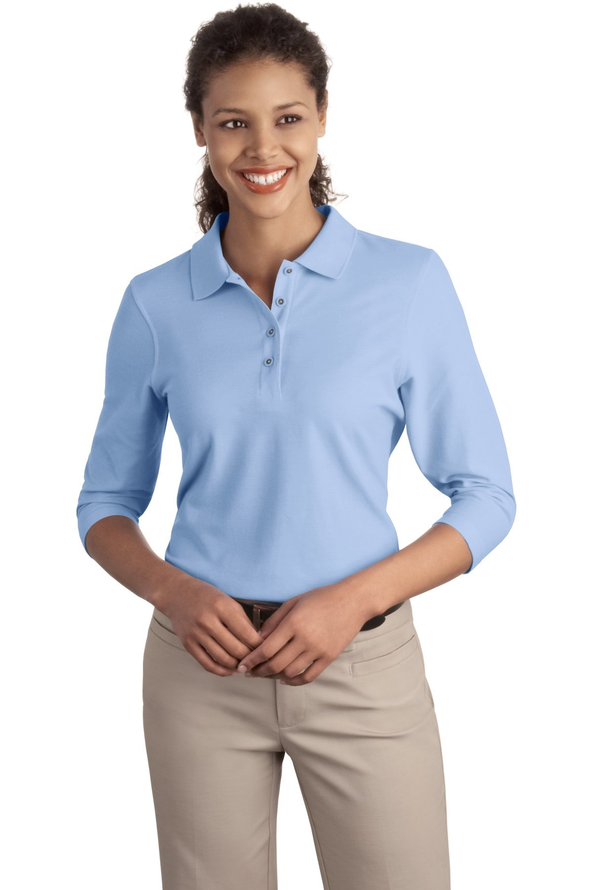 Port Authority Women's Silk Touch 3/4 Sleeve Polo 4XL Light Blue by Port Authority