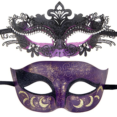 Couples Pair Half Venetian Masquerade Ball Mask Set Party Costume Accessory (Black&Purple)]()