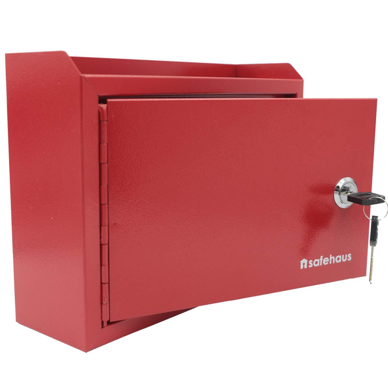 Briefkasten f/ür Mitteilungen Schl/üsselabwurf rot 3-in-1 Safehaus SB101 Vorschlagsbox
