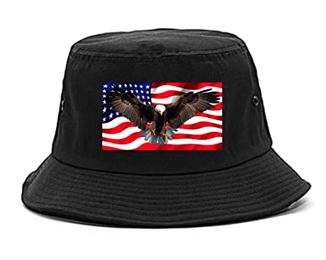 Amazon.com  Bald Eagle American Flag Bucket Hat Black  Clothing 120caeb51f9