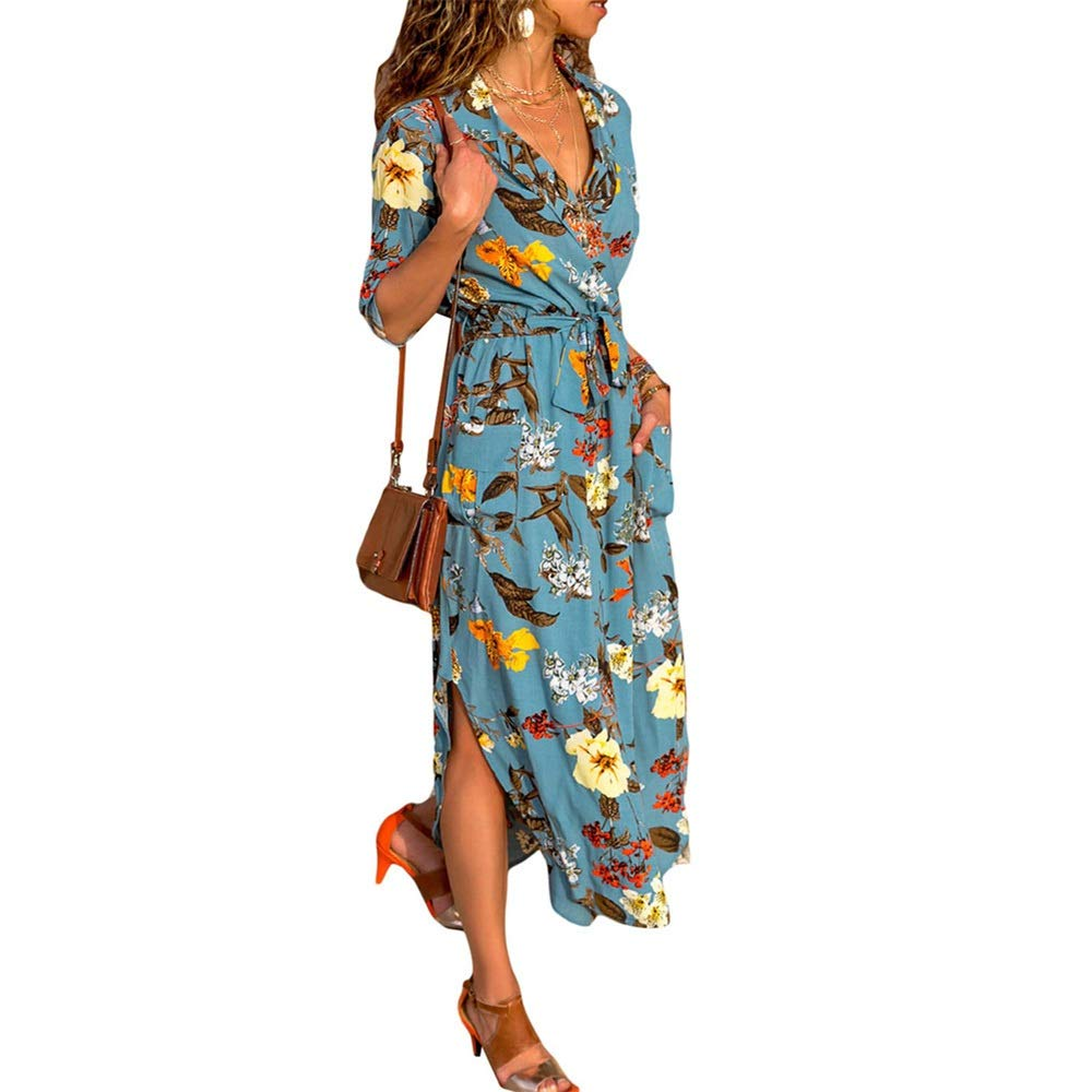 bluee Women Summer Holiday Dress Casual Suit Collar Singlebreasted Halfsleeved Print With Belt Retro Shirt Dress For Casual Party Cocktail Dress Mini Dress Wedding Dress Women's Party Dress Cocktail Forma