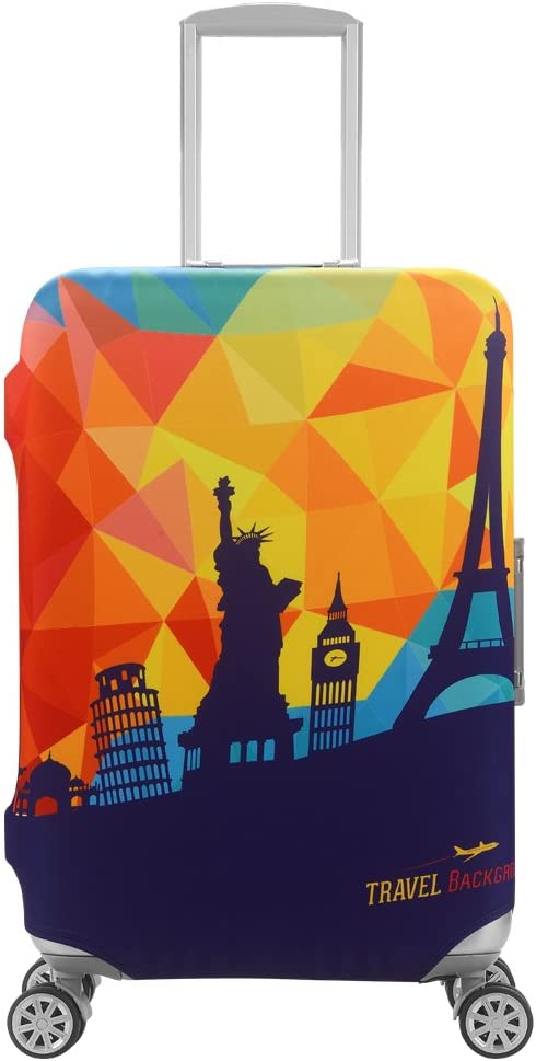 HoJax Spandex Travel Luggage Cover Protector Suitcase Fits 19-21 Inch Luggage Mordern City