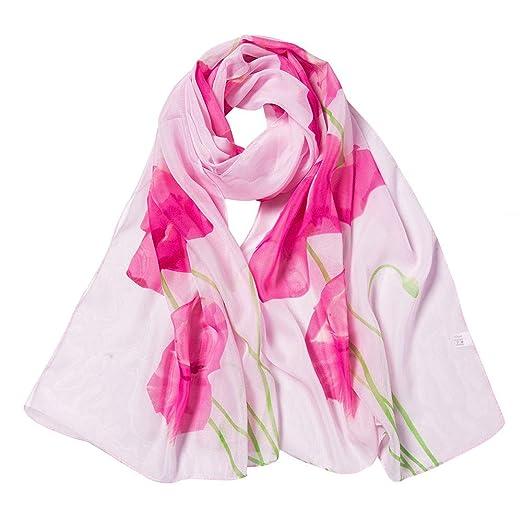 9de989fe3b50e Womens Long Scarf Lightweight Fashion Chiffon Flower Printing Silk Neck  Scarfs Wraps Shawls for Womens Head Scarf at Amazon Women's Clothing store: