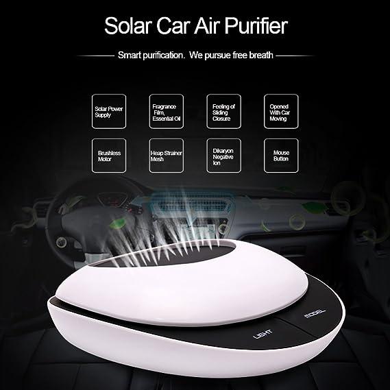 JIBO Nuevo Purificador De Aire Del Coche Purificador De Aire Del Coche Del Humidificador De Iones Negativos Activados Por Energía Solar Del Coche,White: ...