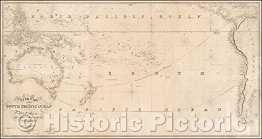 1870 Chart of the Indian and Part of the Pacific Oceans Map Historic Wall Poster