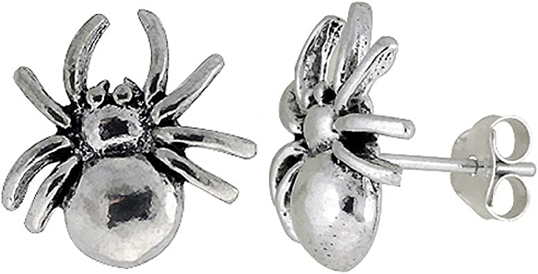 Stainless Steel 3 Color Spider Circle Stud Earrings with O-Rings pair