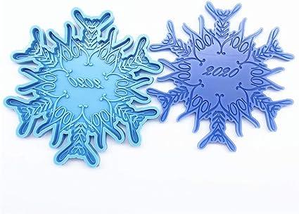 Blue sparkly Handmade Epoxy Resin Snowflake Decorations
