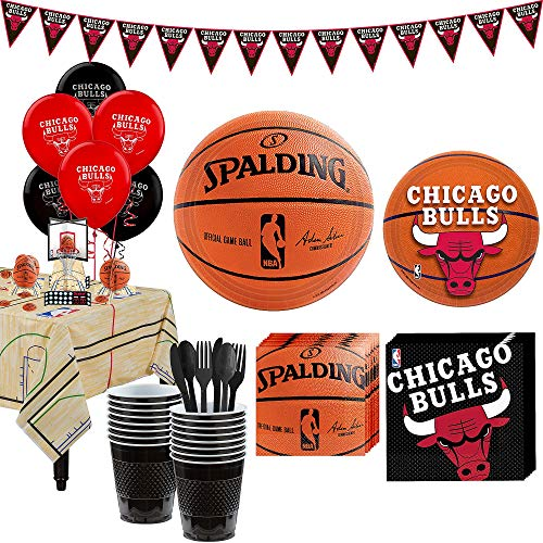 Party City Super Chicago Bulls Party Kit for 16 Guests, Includes Table Cover, Decorations and Tableware]()