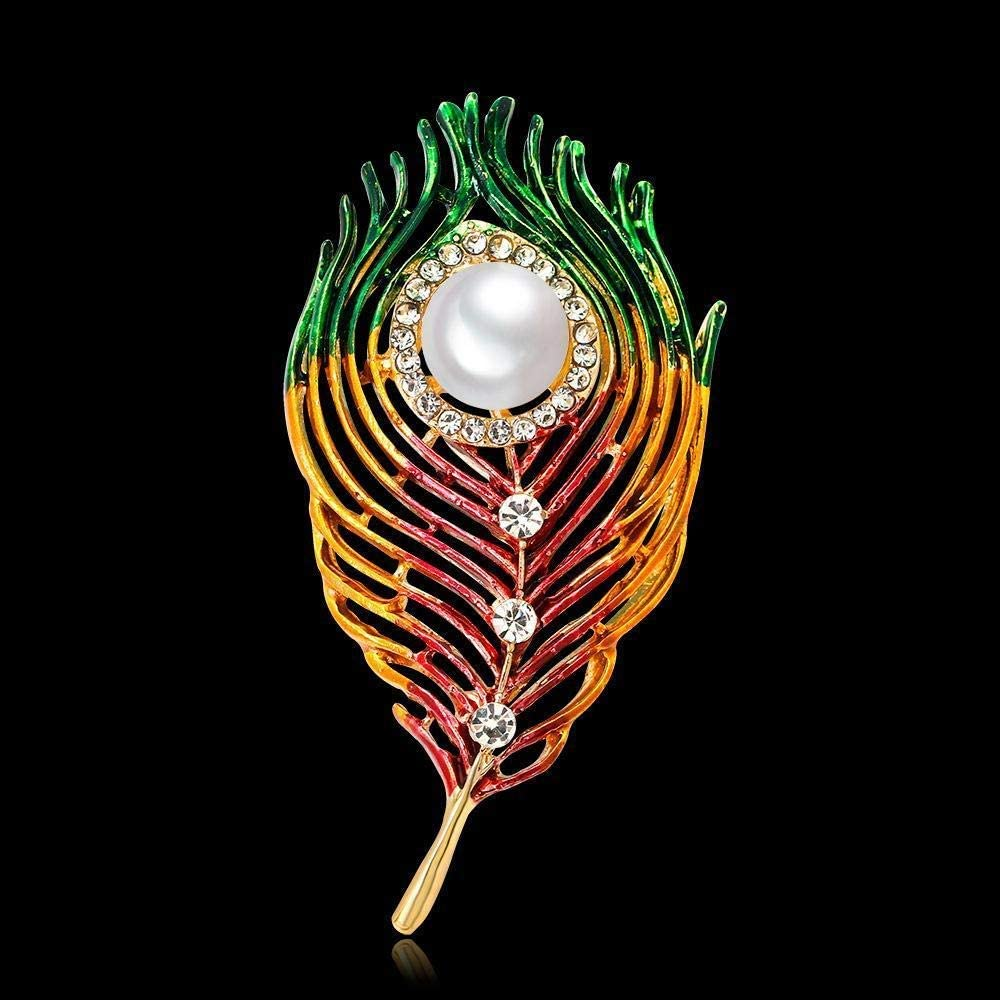 Creative Brooch Pin Brooch Fashion painted pearl feather brooch with personalized ladies Corsage Badge Pin Lapel Pin