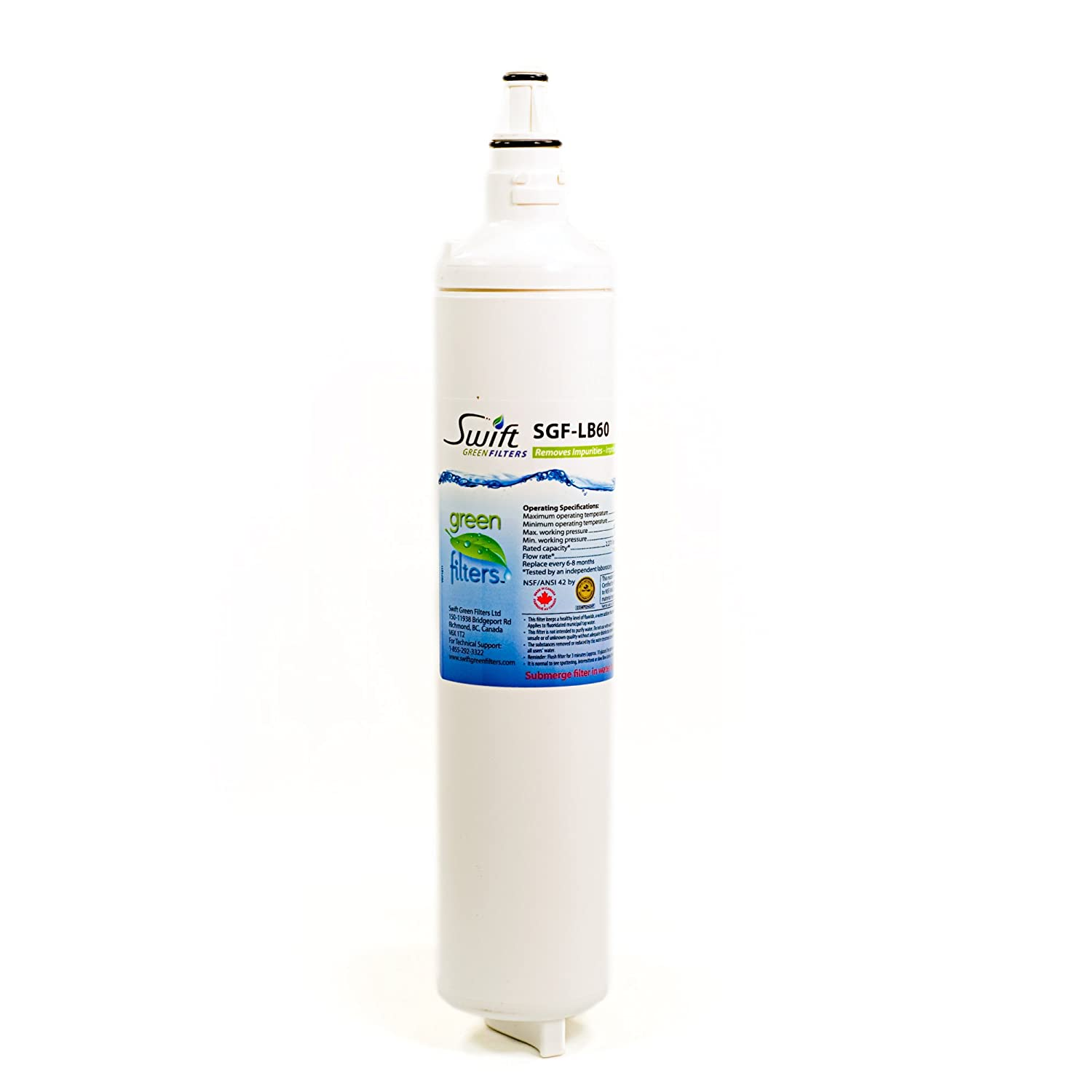 LG replacement water filter 5231JA2006B, LT 600P, 5231JA2005A, Sears/Kenmore: 9990, 469990100% recyclable, and made in U.S.A. and Canada SGF-LB60 (3 Pack)