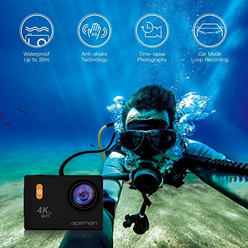 APEMAN-4K-Action-Camera-WiFi-20MP-Waterproof-Underwater-Cam-Ultra-170-Angel-2-Inch-LCD-Display-2-Rechargeable-Batteries30M-Waterproof-Case-carrying-bagFull-Accessories-Kits