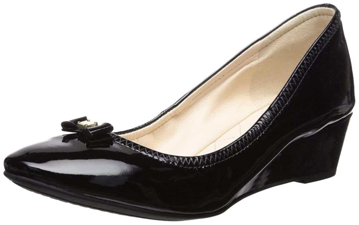 Black Patent Leather Cole Haan Womens Tali Bow Mini Wedge Pumps