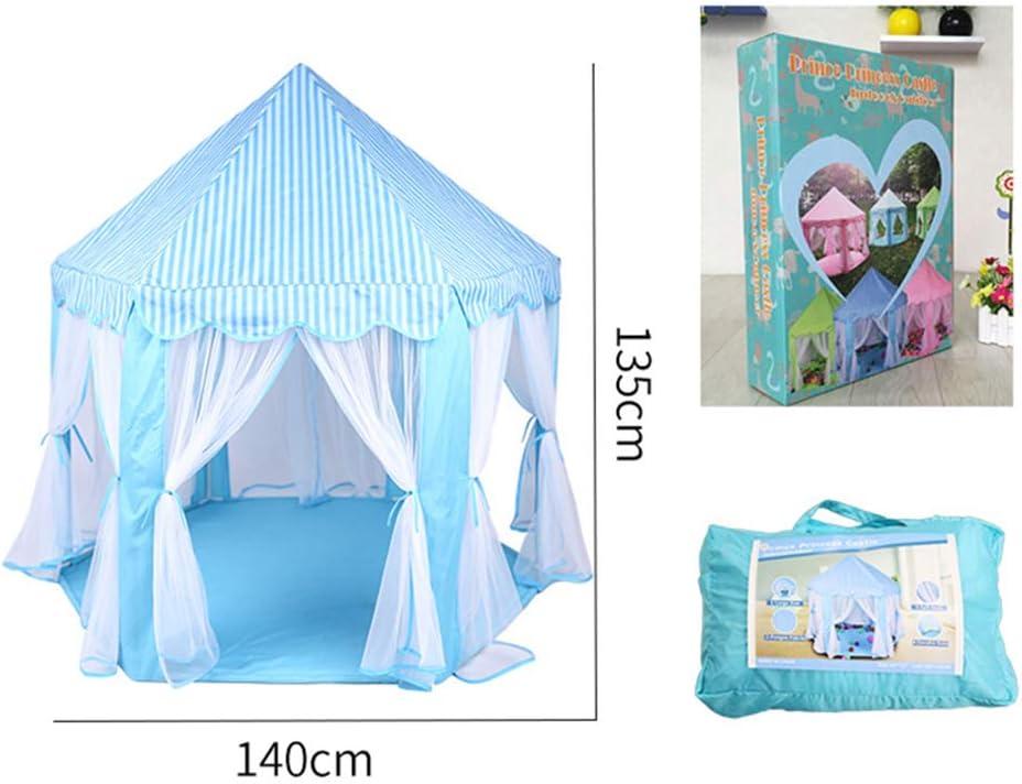 Lzww Tienda de Campaña Carpa Plegable, Parque Infantil Regalos para Niños con Bolas de Colores Princesa Casa de Juego en Juego de Roles para Interiores y Exteriores,Azul Blue