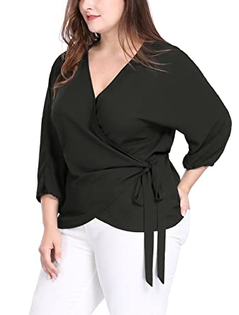 1f4f88b2b2d19 uxcell Women s Plus Size Tie-Belt V-Neck Wrap Chiffon Top at Amazon ...