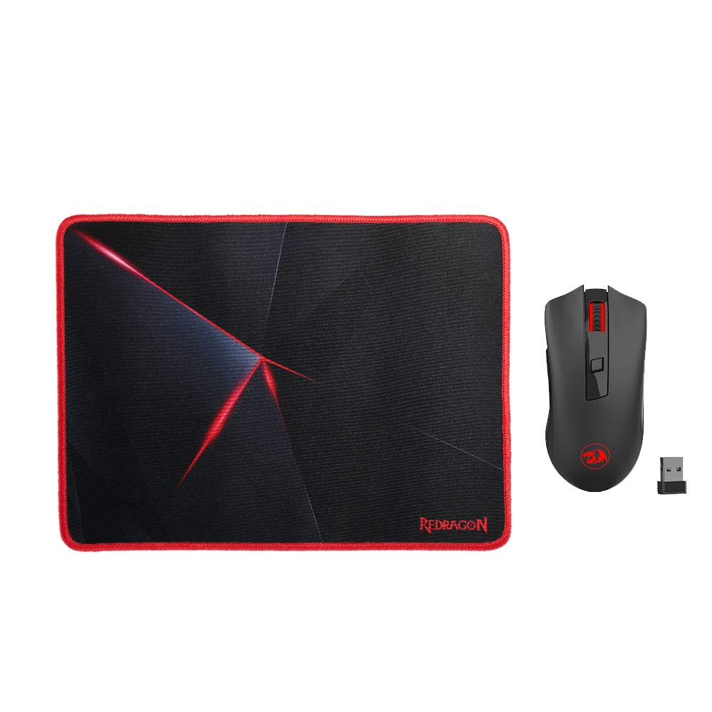 Redragon M652-BA Wireless Gaming Mouse and Mouse Pad Set, 2.4G Wireless Optical Mouse with 2400 DPI and Mouse Pad Combo for Notebook, PC, Laptop, Computer, MacBook by Redragon